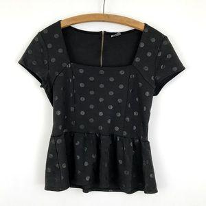 UO Black Peplum Polka Dot Short Sleeve Blouse Top